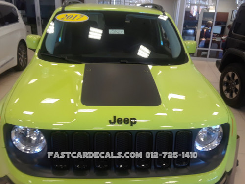 front of green NEW! Factory style Jeep Renegade Trailhawk Hood Stripes 2014-2020