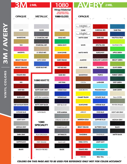 """3M 1080 color chart for 12"""" Inch Wide Auto Pin Stripe SOLID Tape Decal Roll 25' Long"""