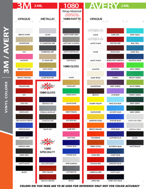 """3M 1080 color chart for 12"""" Inch SOLID Wide Pin Stripe Auto Tape Decal Roll 150' Long"""