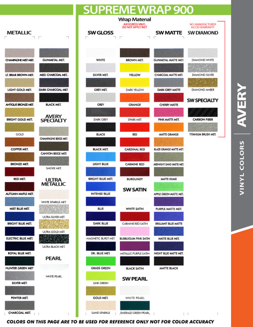"""Avery color chart for 10"""" Inch Wide Auto Pin Stripe SOLID Tape Decal Roll 25' Long"""