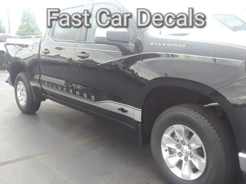 front of black 2019 Chevy Silverado Side Decals SILVERADO ROCKER 1 2019-2020
