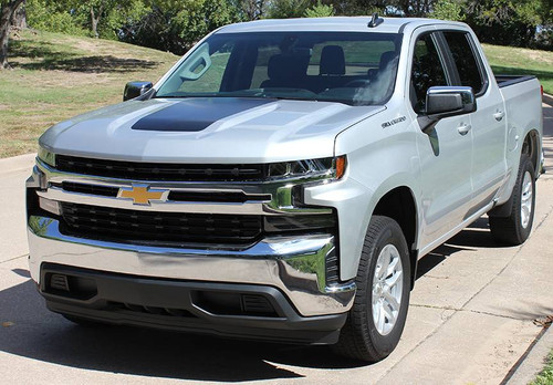 front angle of 2021 SLT 4X4 Z71 Chevy Silverado Hood Stripes T-BOSS HOOD 2019-2021
