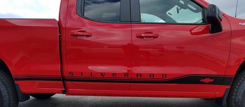 close up of red ROCKER ONE : 2019 Chevy Silverado Stripes Lower Door Decals Rocker Panel Vinyl Graphic Kit
