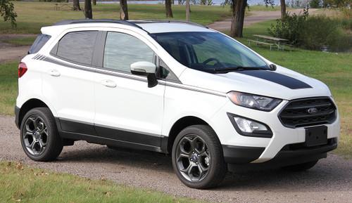 side of white Ford EcoSport Side Stripes AMP SIDE KIT 2018-2020