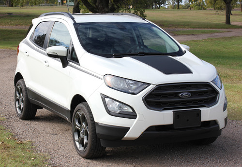front angle of Ford EcoSport Hood Stripes AMP HOOD KIT 2018-2020