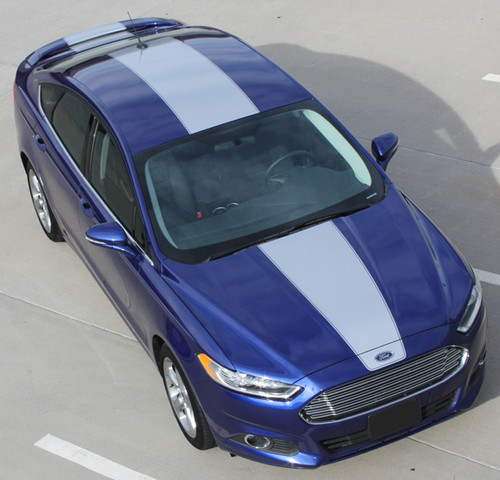 top of 2018 Ford Fusion Center Hood Wide Stripes 2013-2018 OVERVIEW RALLY