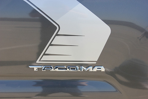 close up of Toyota Tacoma Side Door Stripes STORM 2015-2020