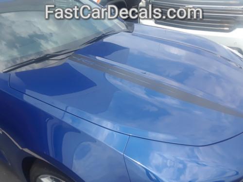 side of blue 2019 Chevy Camaro Hood Stripes WIDOW HOOD STRIPES 2020