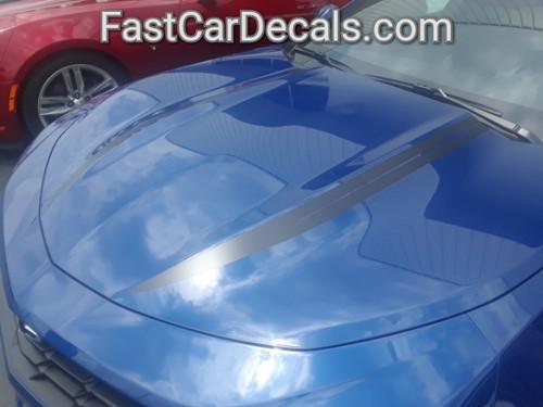 front angle of blue 2019 Chevy Camaro Hood Stripes WIDOW HOOD STRIPES 2020
