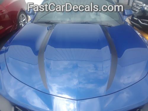 front of blue 2019 Chevy Camaro Hood Stripes WIDOW HOOD STRIPES 2020