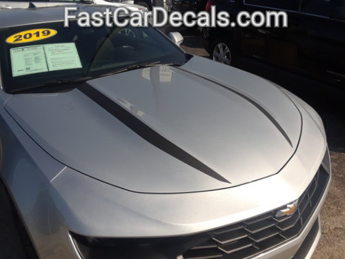 front angle of silver 2019 Chevy Camaro Hood Stripes WIDOW HOOD STRIPES 2020