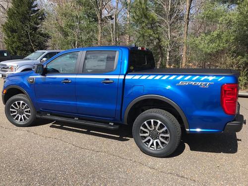 side of blue 2019 Ford Ranger Stripe Decals 2019 2020 UPROAR SIDE KIT Vinyl Graphics
