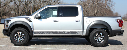 side of silver with text 2019 Ford F150 Raptor Side Decals VELOCITOR ROCKER 2018-2020