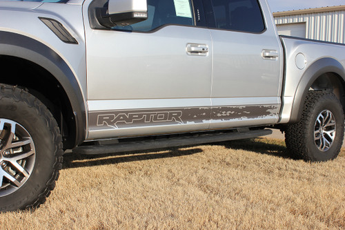 close up of 2019 Ford F150 Raptor Decals VELOCITOR ROCKER 2018-2020