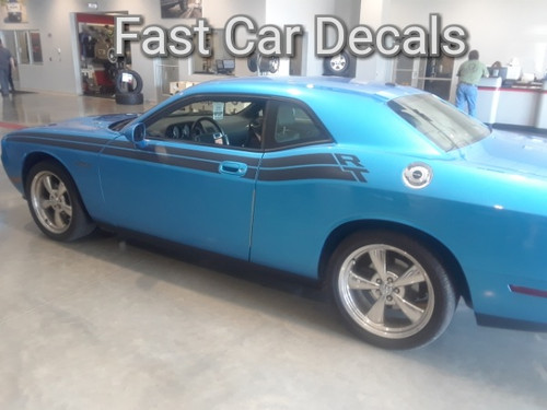 Classic! R/T Dodge Challenger Side Stripes DUEL 11 2011-2021 driver side of blue