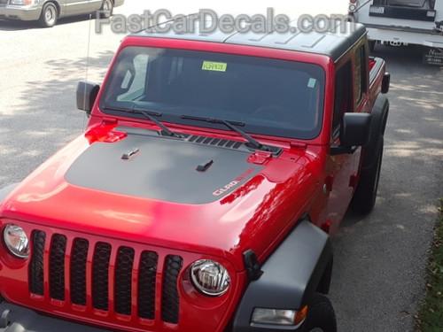 front of red 2020 Jeep Gladiator Hood Stripes WRANGLER SPORT HOOD