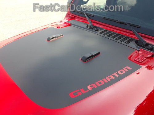 close up of red ALL NEW! 2020 Jeep Gladiator Hood Stripes SPORT HOOD 2020-2021