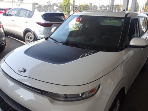 front hood of white ALL NEW! 2021 Kia Soul Hood & Side Stripes SOULPATCH 20 2020-2021