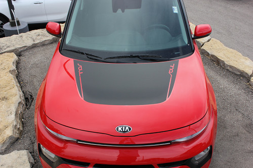 hood view of HOT! 2020 Kia Soul Hood Stripes SOULED HOOD 2020-2021