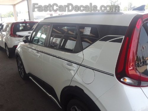 side of white 2020 Kia Soul Side Decals OVERSOUL