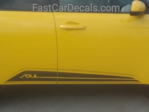 close up of yellow 2021-2020 Kia Soul Side Door Stripes SOULED ROCKER
