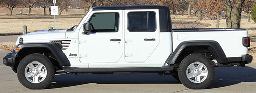side of white PATRIOT : Jeep Gladiator Side Vent Star Vinyl Graphics Decal Stripe Kit for 2020-2021