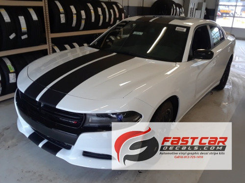 front angle of N-CHARGE RALLY 15 | Dodge Charger Racing Stripes Hood Decal Roof Bumpers Vinyl Graphic fits 2015-2020
