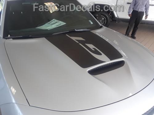 side angle of silver 15 CHARGER HOOD | Dodge Charger Hood Decal Daytona Hemi SRT 392 Center Hood Stripe Vinyl Graphics 2015-2020
