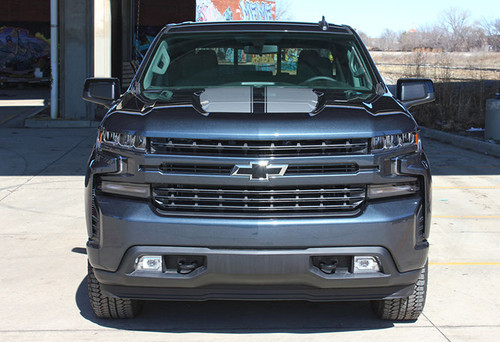 front of 2020 Chevy Silverado Racing Stripes BOW RALLY 2019-2021