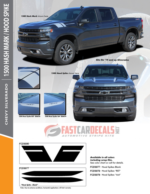 flyer for 2020 Chevy Silverado Hood Stripes 1500 HOOD SPIKE 2019-2020