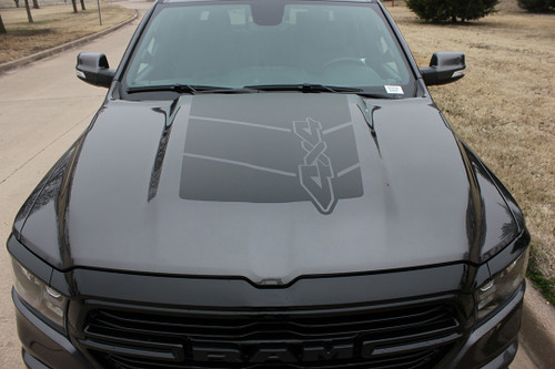 front of 2020 Ram 1500 Rebel REB HOOD Graphics 2019-2021