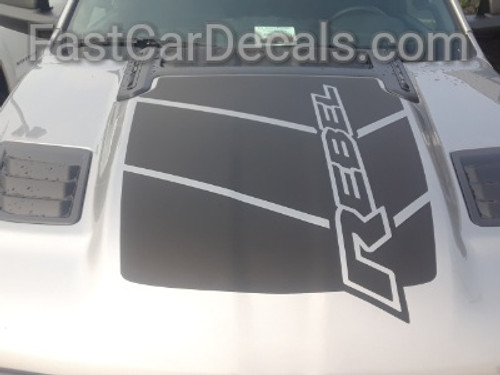 front of silver 2020 Ram 1500 Rebel REB HOOD Graphics 2019-2021