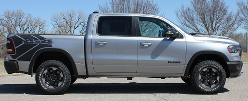 side of Ram with wheel moldings 2020 Ram 1500 Rebel REB SIDE Graphic Stripes 2019-2021