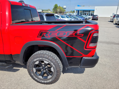 side of red NEW! 2020 Ram 1500 Truck 4x4 Bed Side Graphics 2019-2021 REB SIDE