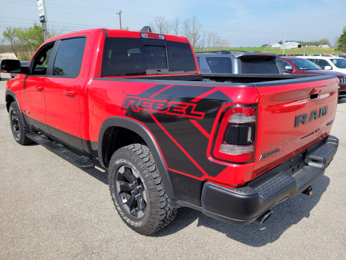 rear of red NEW! 2020 Ram 1500 Truck 4x4 Bed Side Graphics 2019-2021 REB SIDE