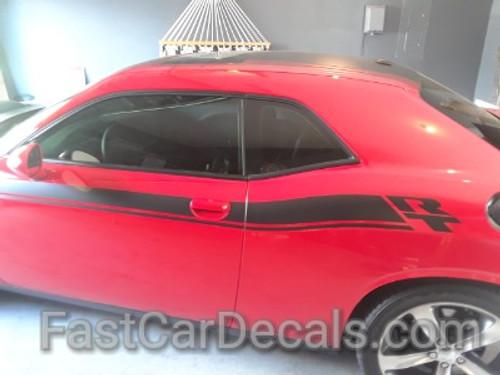 side of red 2020 Dodge Challenger Side RT Stripes DUEL 15 Shaker 2015-2020