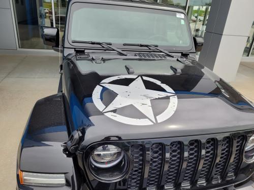 front of black Jeep Gladiator Hood Stripe 2020-2021 LEGEND HOOD (fits Wrangler also)