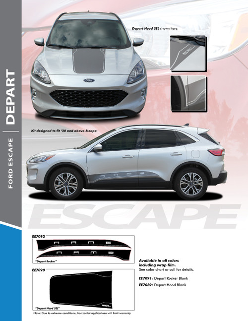 flyer for ALL NEW! Ford Escape Hood Stripes DEPART HOOD 2020-2021