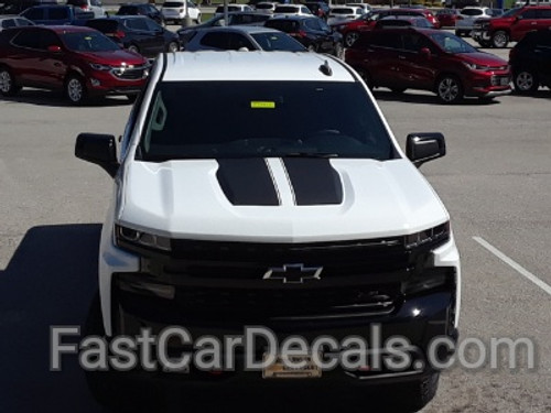 front close up of white NEW! Trail Boss style Chevy Silverado Stripes BOW RALLY 2019-2021