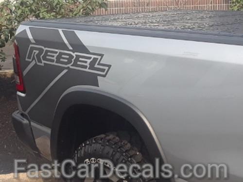profile of 2021 Dodge Ram 1500 Rebel Edition Stripes REB SIDE 2019 2020 2021