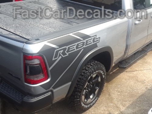 rear angle of 2019 Ram Rebel Side Stripes 2019-2021 REB SIDE