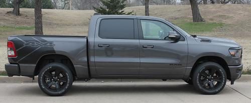 side of grey 2021 Dodge Ram 1500 Rebel Edition Stripes REB SIDE 2019 2020 2021