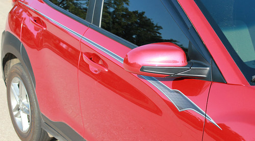 side angle of NEW! 2020-2021 Hyundai Kona Side Decals BOLT KIT Premium Products!