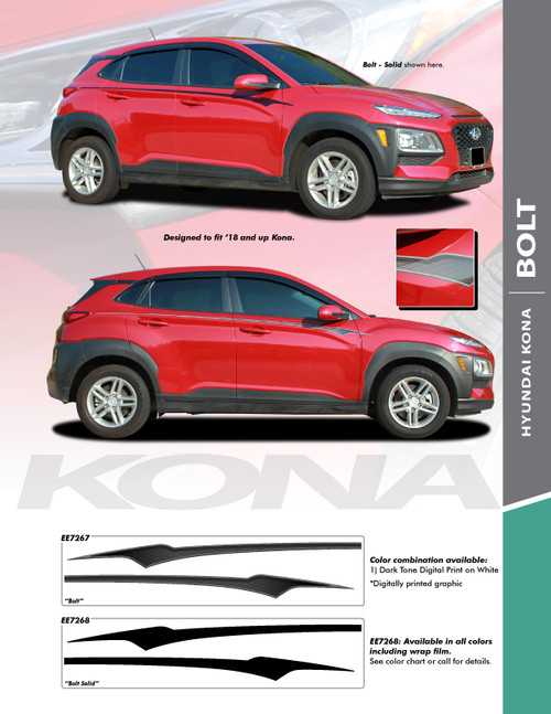 flyer for 2020-2021 Hyundai Kona Side Decals BOLT KIT Premium Products!