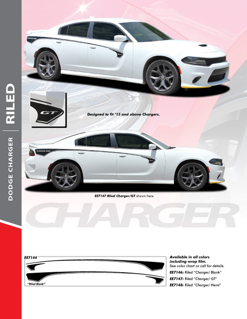 sales flyer for 2015-2021 Dodge Charger Body Line Stripes RILED SIDE KIT