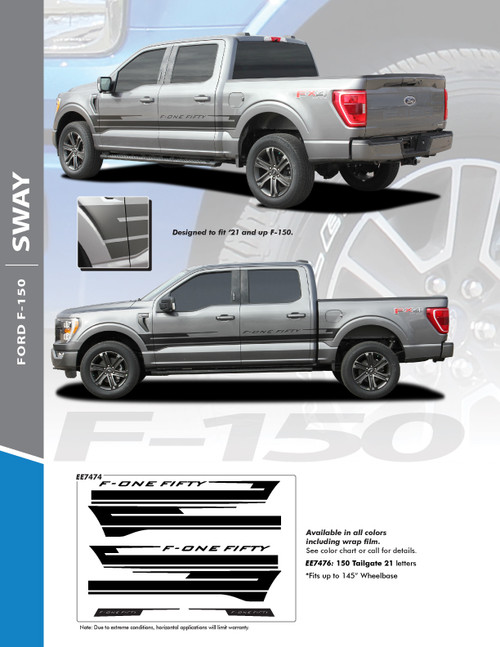 info for 2021 Ford F150 Stripe Graphics Package SWAY SIDE KIT 2021+