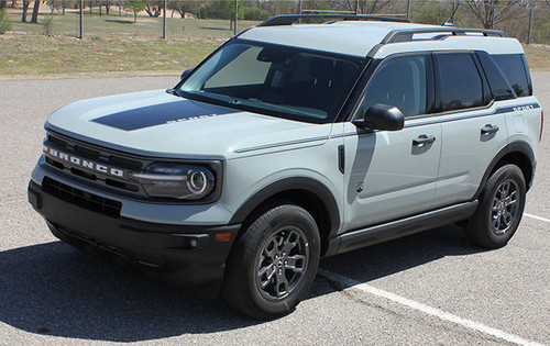 front angle of NEW Ford Bronco Hood Stripes RIDER HOOD 2021 and up All Models
