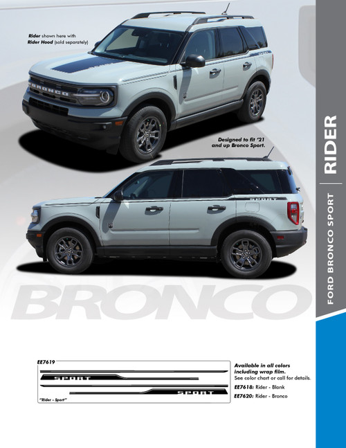 sales info for NEW 2021 Ford Bronco Stripes RIDER SIDE 2021 and up All Models