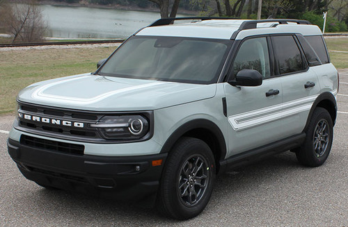 front angle of NEW 2021 Ford Bronco Hood Stripe Decals REVIVE HOOD All Models