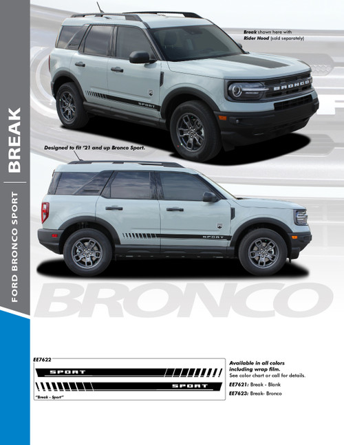 sales flyer for NEW! Ford Bronco Side Door Stripes BREAK ROCKER 2021+ All Models